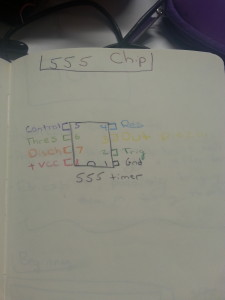 First I drew a diagram depicting the 555 timer chip.