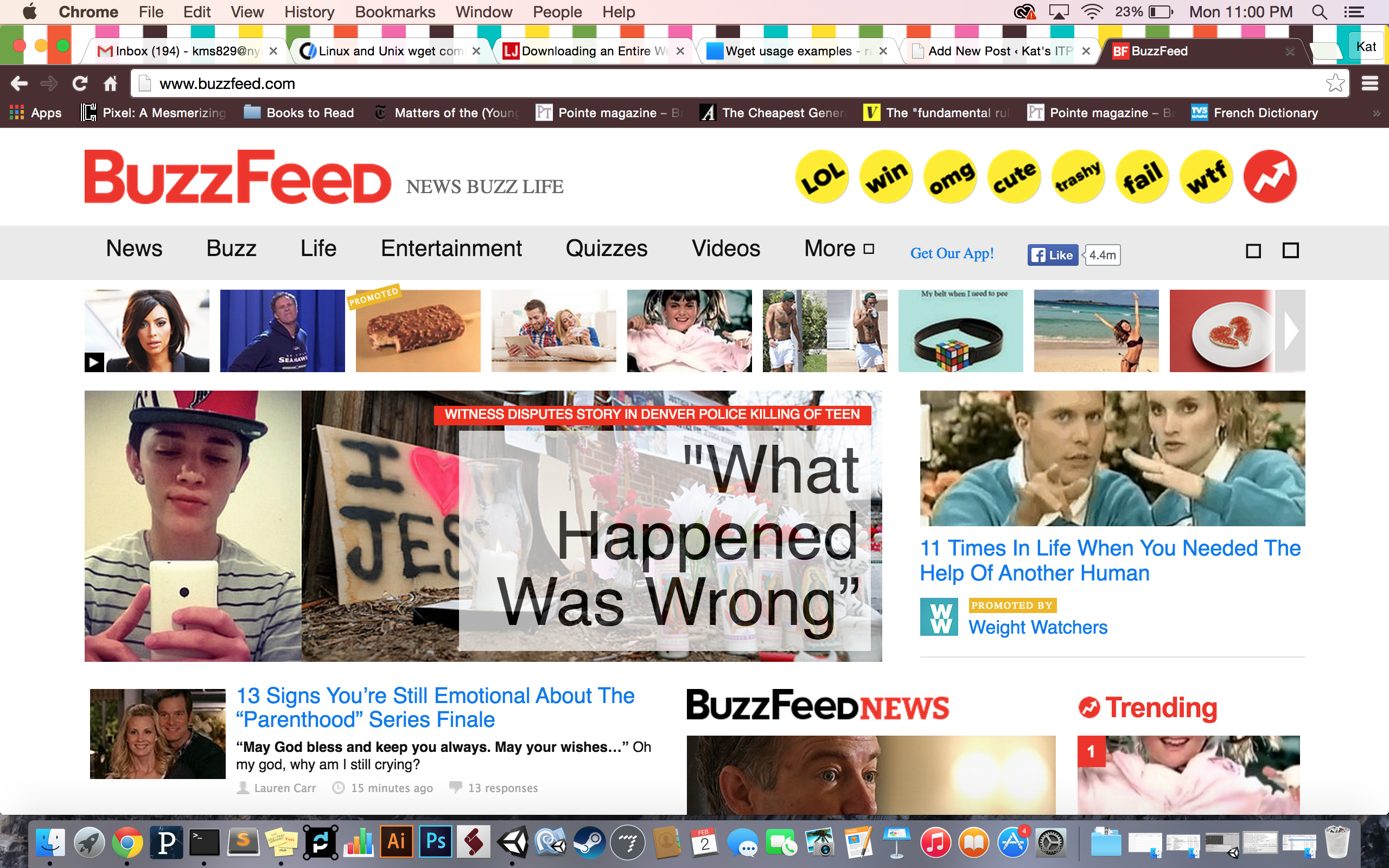 Scraping Buzzfeed with wget